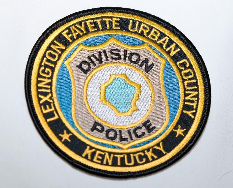 The shoulder patch of the Lexington Fayette Urban County Police department in Kentucky. USA on a white background royalty free stock photo