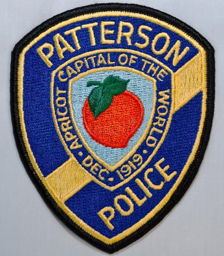 The shoulder patch of the Patterson Police Department in California. USA on a white background royalty free stock images