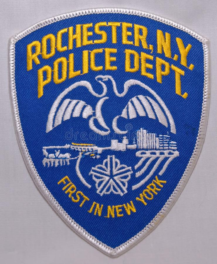 The shoulder patch of the Rochester Police Department in New York stock photo