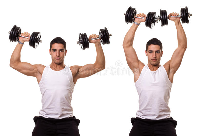 Shoulder Press. Seated shoulder press. Studio shot over white stock photos