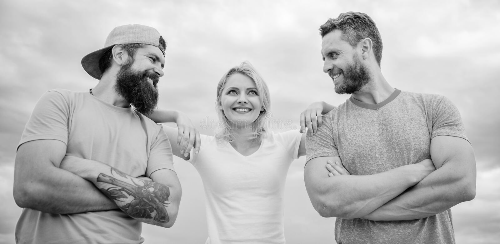 Shoulder on which you can rely. Woman and men look confident while stay close each other like team. Feel comfortable. With friends teammates. Trust and support stock images
