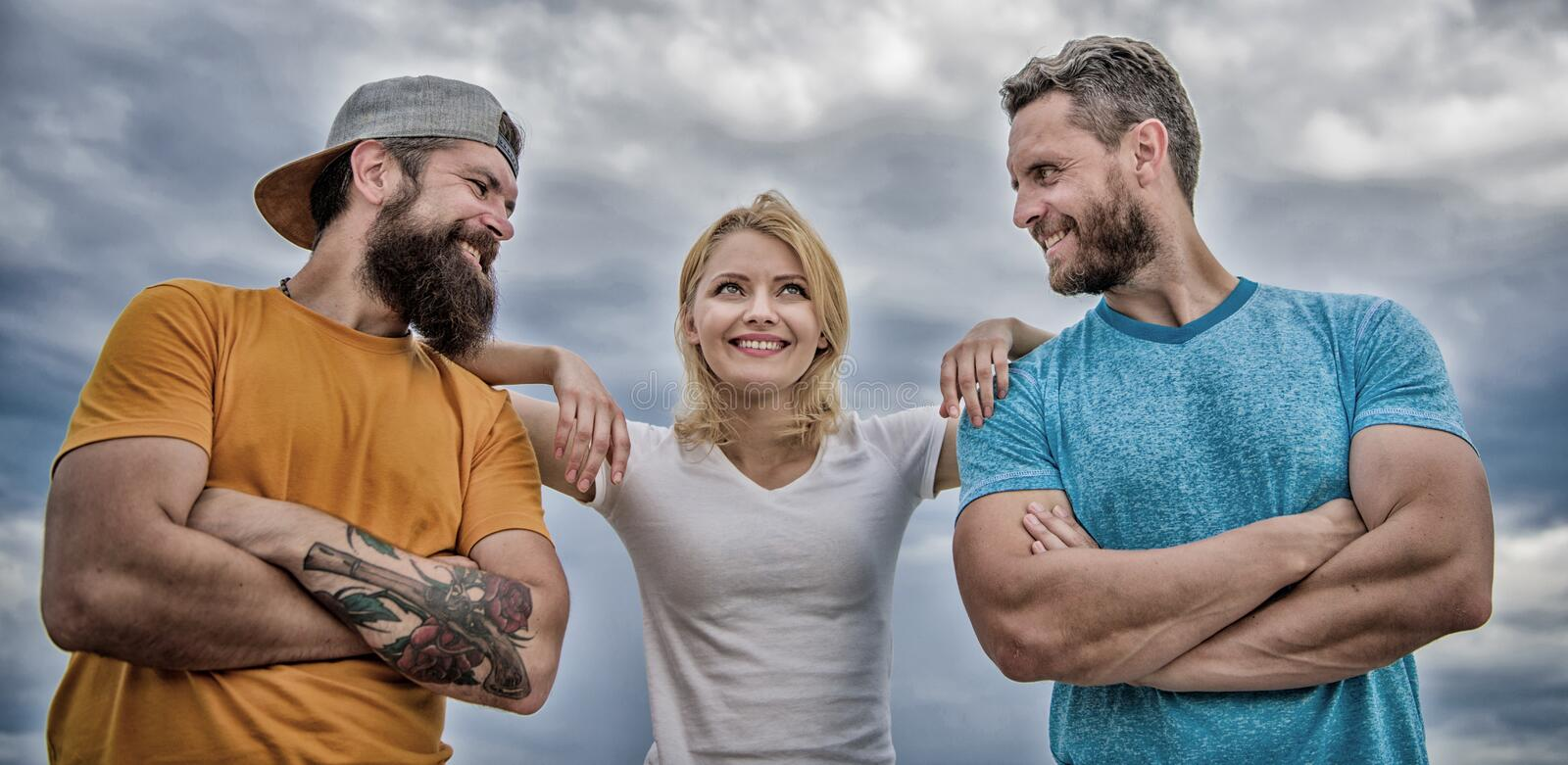 Shoulder on which you can rely. Woman and men look confident while stay close each other like team. Feel comfortable. With friends teammates. Trust and support royalty free stock photography