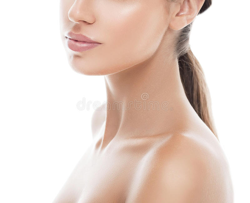 Shoulders neck lips Woman beauty portrait. isolated on white. royalty free stock images