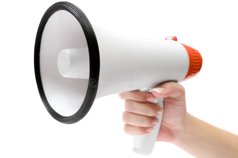 Shout It Out. Female hand and megaphone. Isolated on a white background