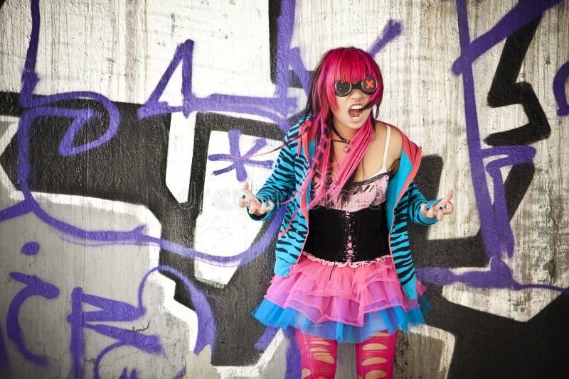 Shouting asian girl. Blinded asian goth lolita shouting desperately royalty free stock photo