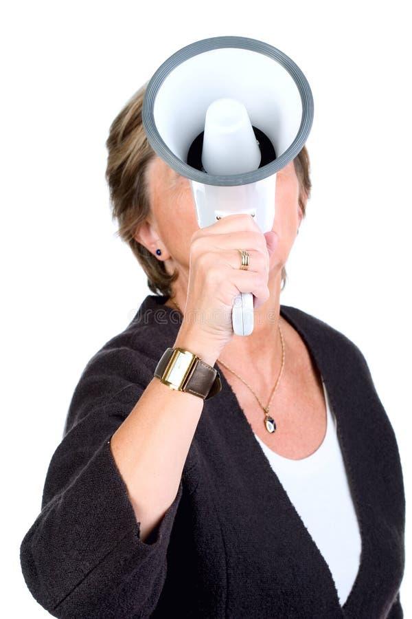 Shouting através do megafone foto de stock royalty free