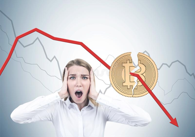 Shouting blonde businesswoman, bitcoin crisis stock images