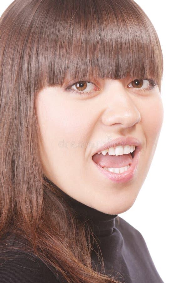 Download Shouting brunette in black stock image. Image of open - 11827089