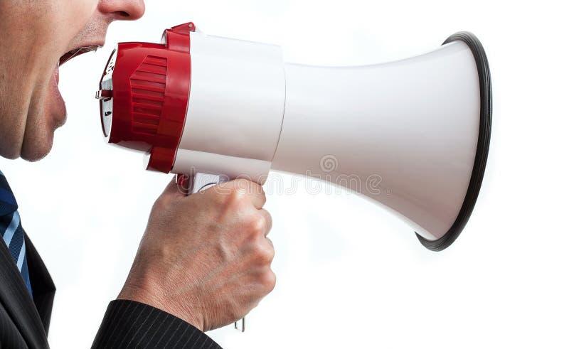 Download Shouting businessman stock photo. Image of loud, megaphone - 33362222