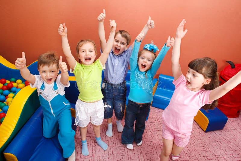 Shouting kids stock image