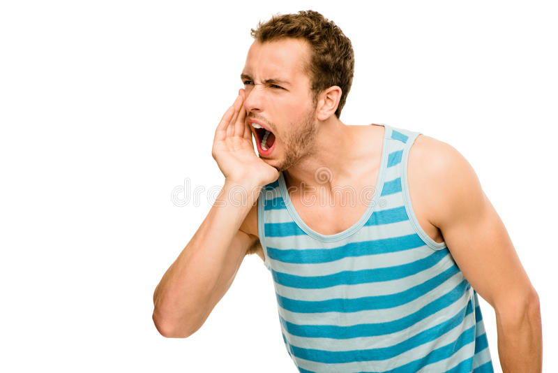 Download Shouting Man Angry Scream White Background Stock Photo - Image: 31654606