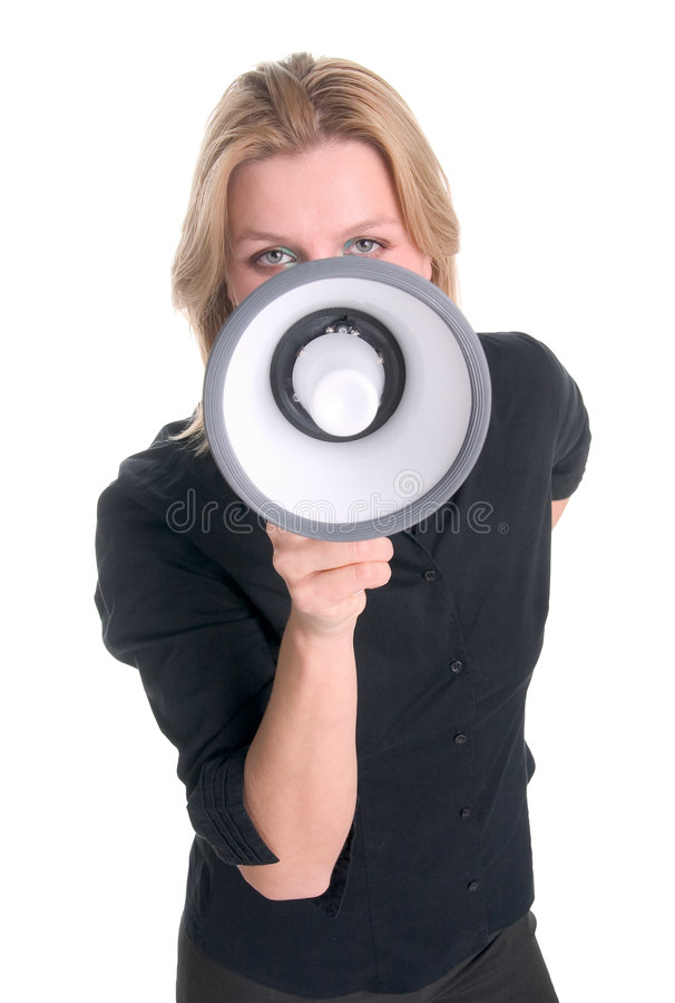 Shouting into megaphone royalty free stock image