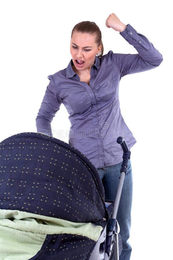 Download Shouting Mother With Baby Buggy Stock Image - Image: 16097703