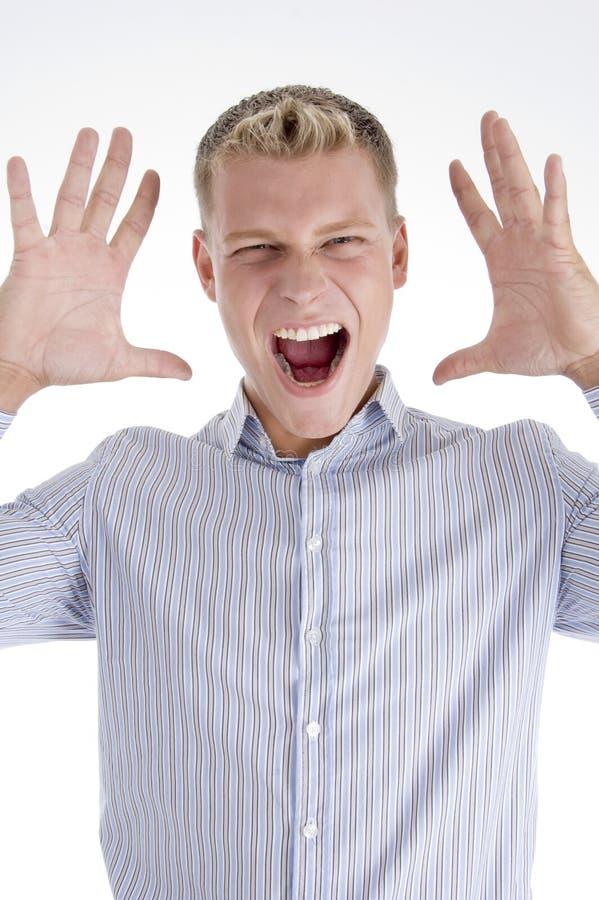 Shouting novo do macho fotos de stock royalty free