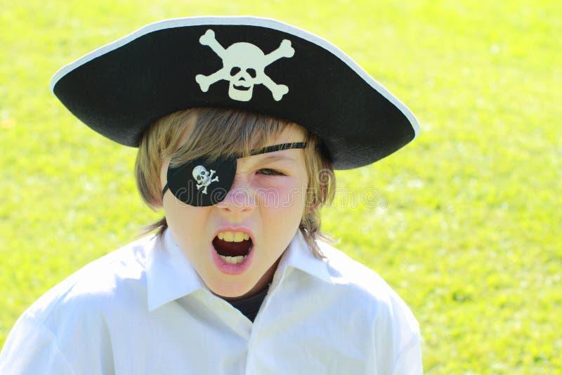 Shouting pirate boy stock photo