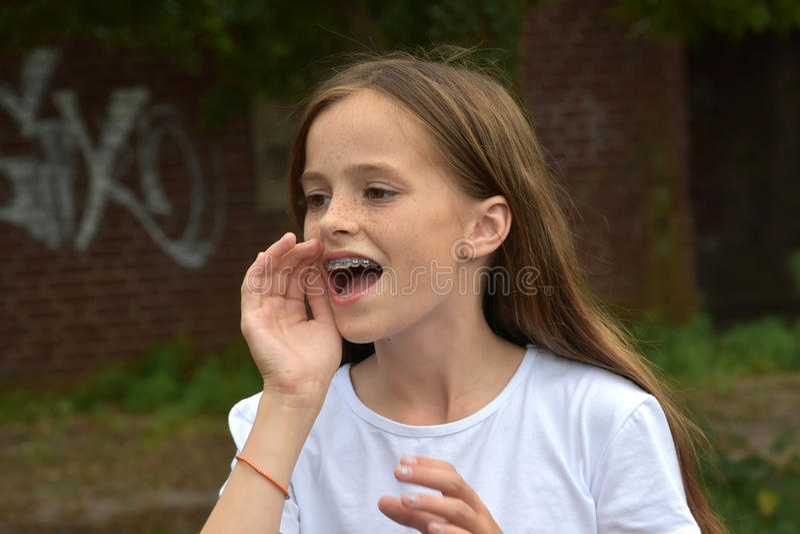 Shouting teenage girl royalty free stock photos