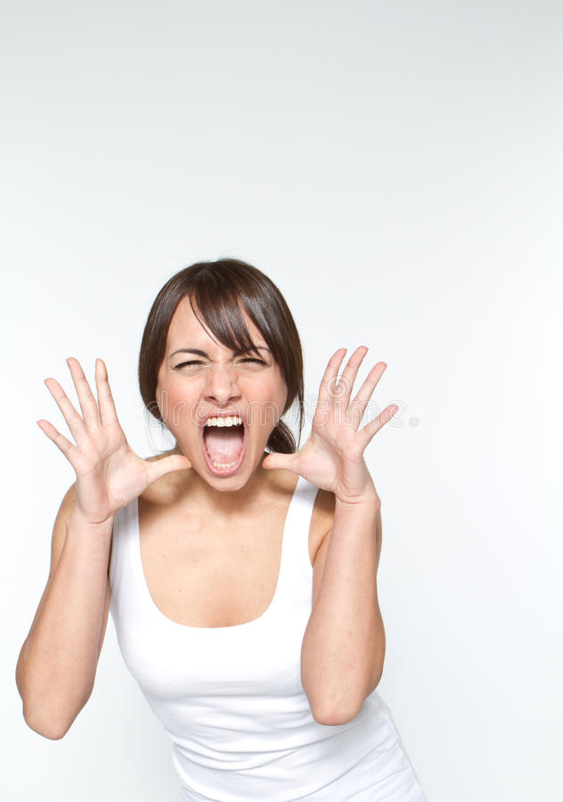 Shouting woman royalty free stock photography