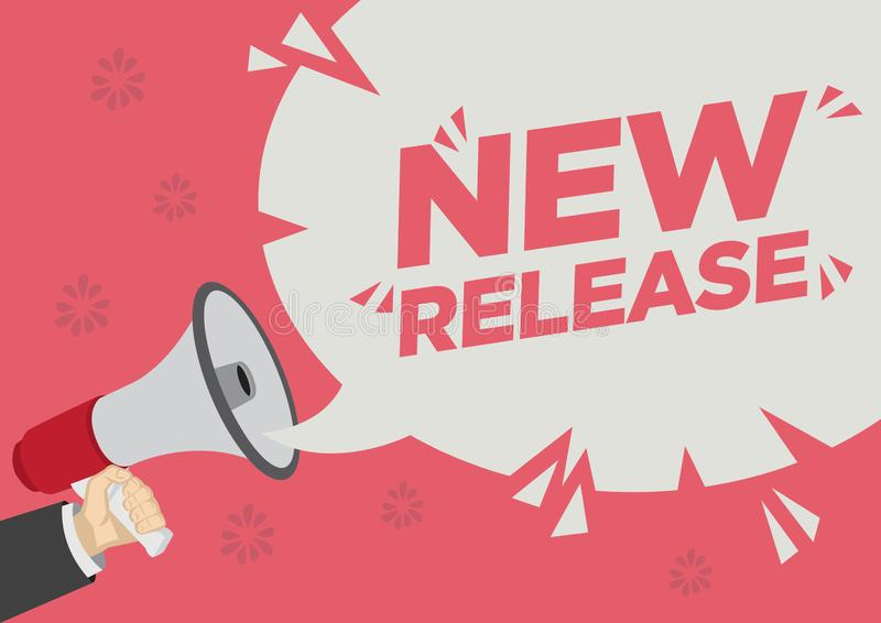 Shoutout för detaljhandelsreabefordran av den nya frigöraren med en megafonanförandebubbla mot en röd bakgrund vektor illustrationer