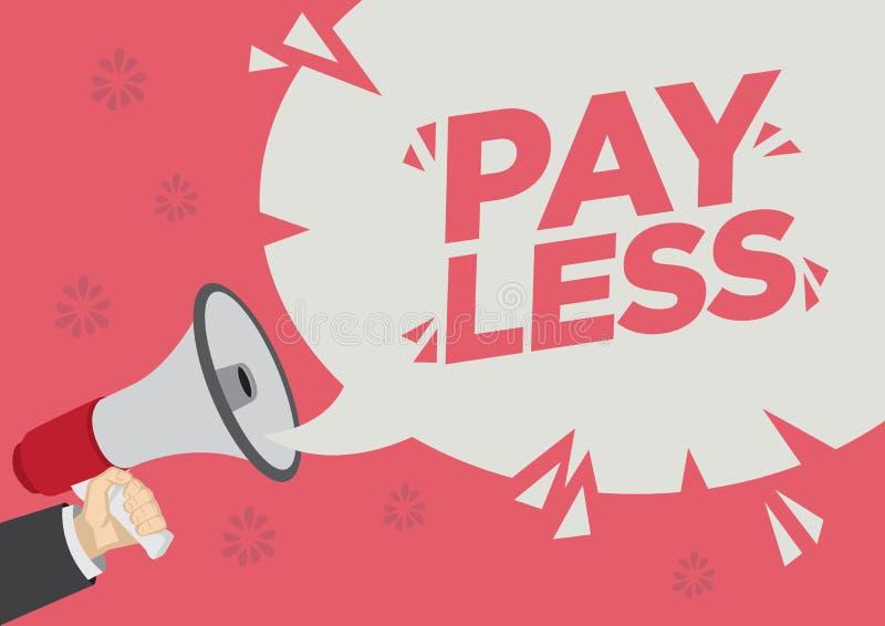 Shoutout för detaljhandelsreabefordran av lön mindre med en megafonanförandebubbla mot en röd bakgrund vektor illustrationer