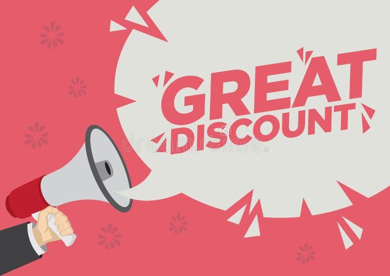 Shoutout för rabatt för detaljhandelsreabefordran med en megafonanförandebubbla mot en röd bakgrund stock illustrationer