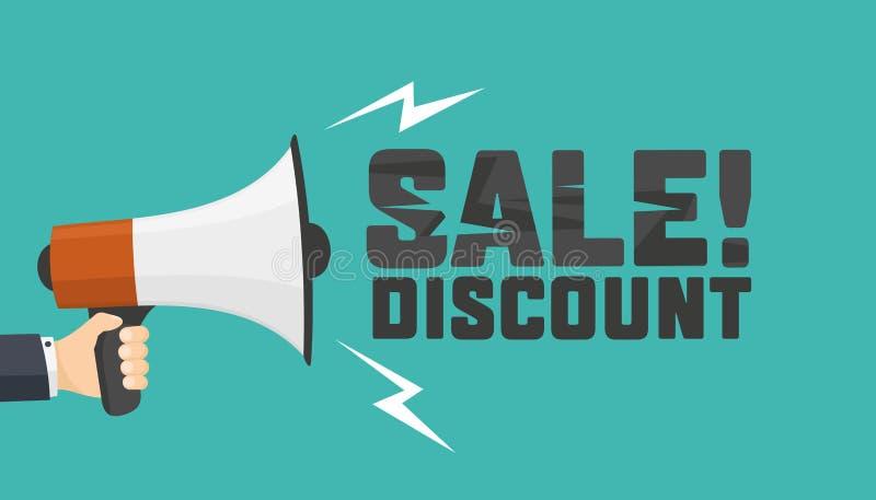 Shouts megaphone. Announcement of discount. stock images