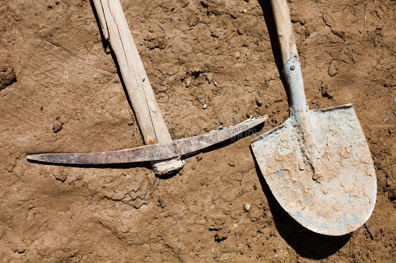 Shovel and tools stock photography