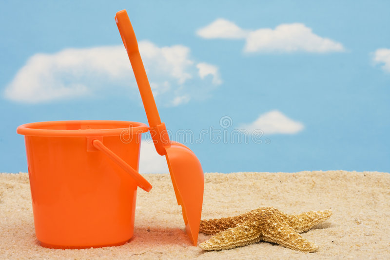 Download Shovel and Bucket stock photo. Image of color, blue, shore - 5941020