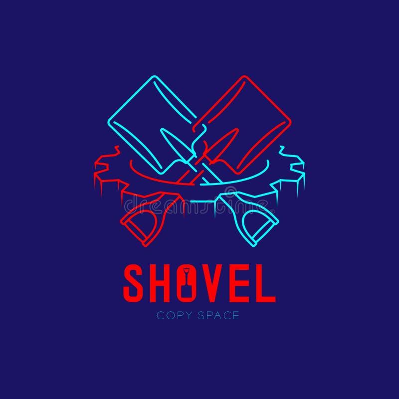 Shovel cross in gear frame logo icon outline stroke set dash line design illustration isolated on dark blue background with Shovel. Text and copy space vector illustration