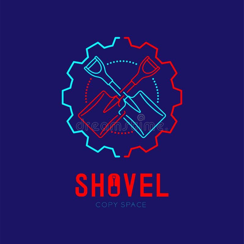 Shovel cross in gear frame logo icon outline stroke set dash line design illustration isolated on dark blue background with Shovel. Text and copy space stock illustration