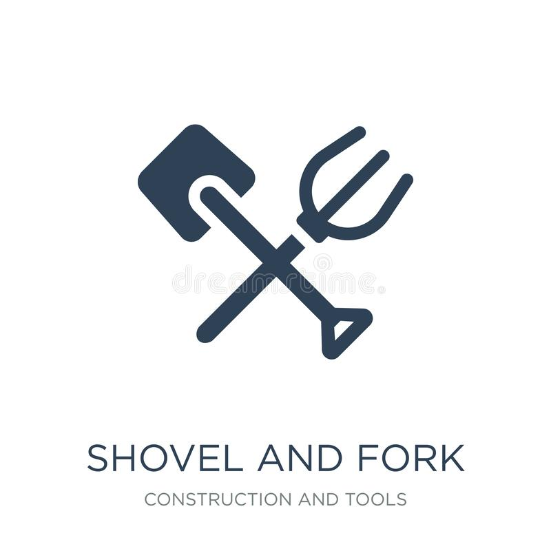 Shovel and fork icon in trendy design style. shovel and fork icon isolated on white background. shovel and fork vector icon simple. And modern flat symbol for royalty free illustration