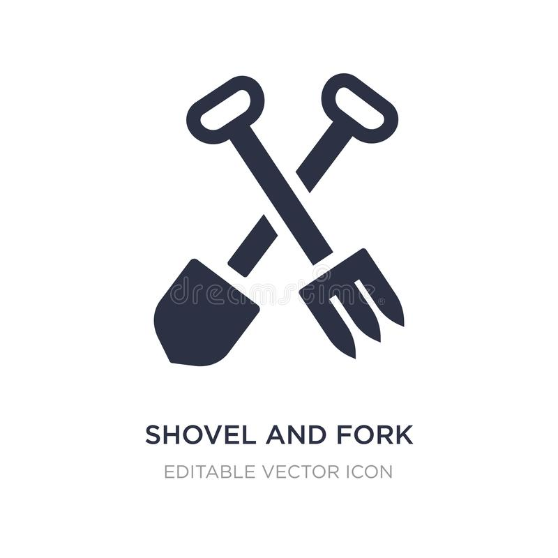 shovel and fork icon on white background. Simple element illustration from Construction and tools concept stock illustration