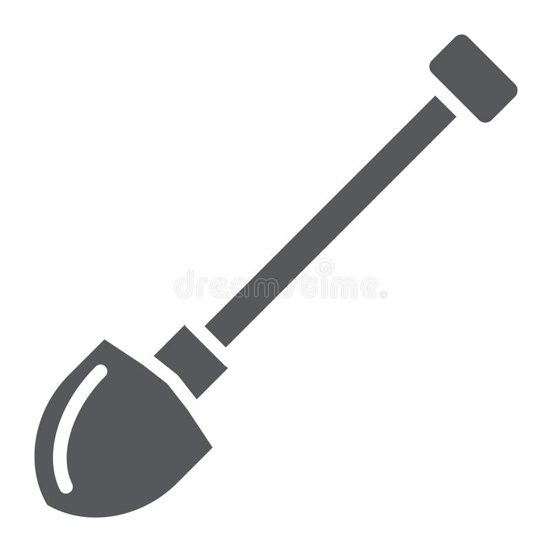 Shovel glyph icon, dig and tool, spade sign, vector graphics, a solid pattern on a white background. Shovel glyph icon, dig and tool, spade sign, vector royalty free illustration
