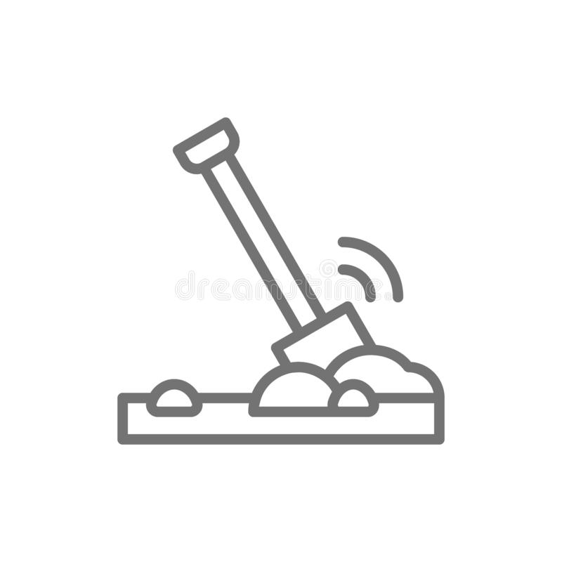Shovel in the ground, soil line icon. royalty free illustration