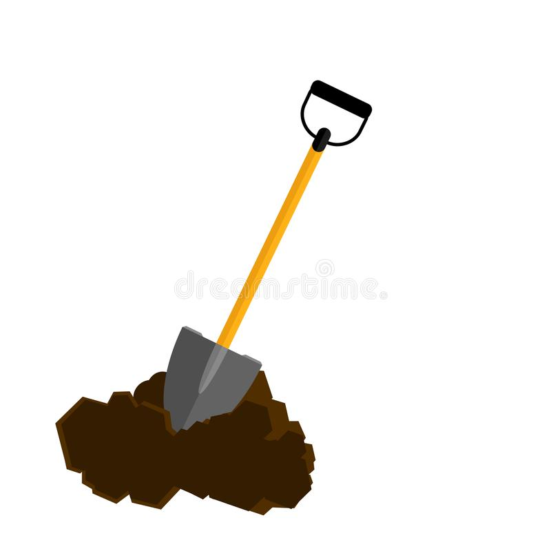 Shovel with heap of ground, dirt isolated on white background royalty free stock image