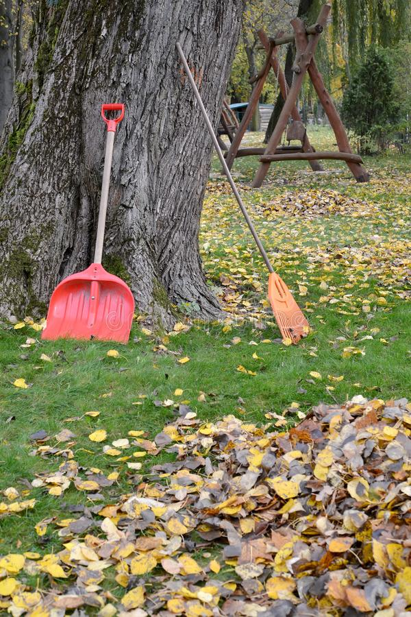 Shovel and loot to clean the fallen foliage in the park. Fall stock photography
