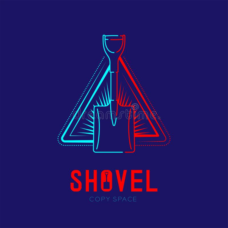 Shovel with radius in triangle frame logo icon outline stroke set dash line design illustration isolated on dark blue background. With Shovel text and copy royalty free illustration