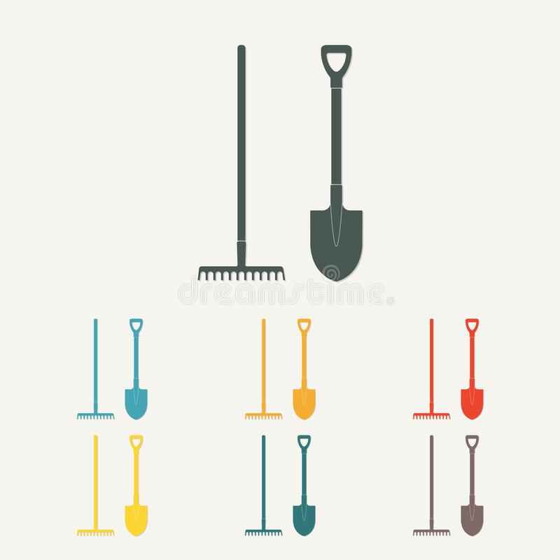 Shovel and rake. Colorful gardening tools. Flat design. Vector illustration. royalty free illustration