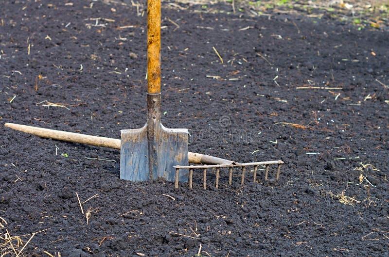 Shovel and rake stock photos
