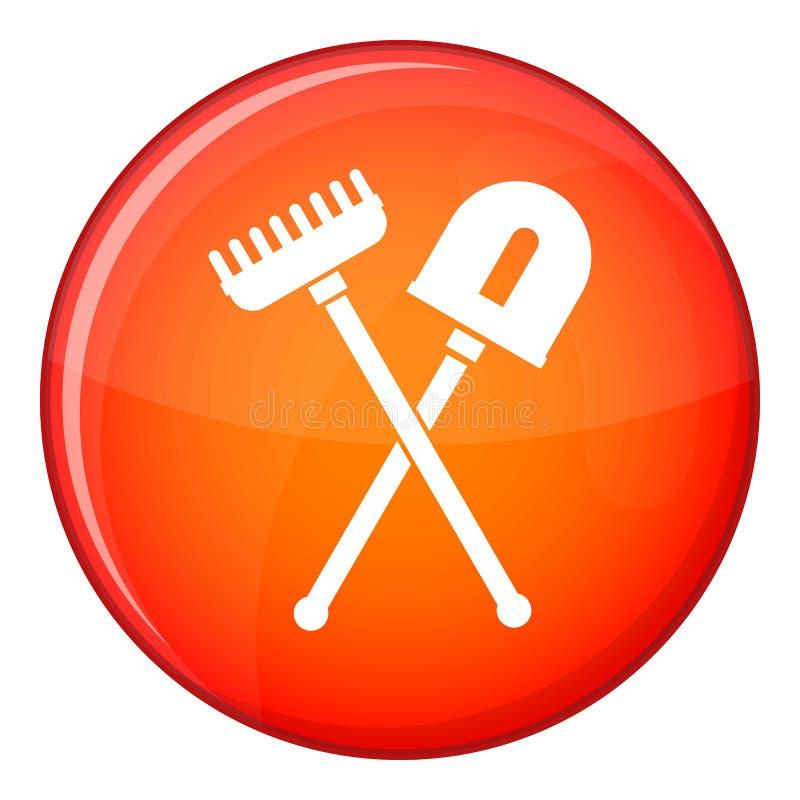 Shovel and rake icon, flat style. Shovel and rake icon in red circle isolated on white background vector illustration stock illustration