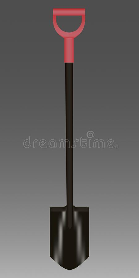 Shovel with red Handle Vector illustration royalty free stock photo