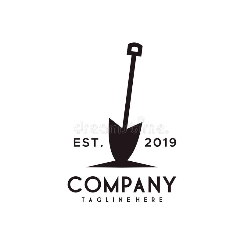 Shovel or Spade logo design stock illustration