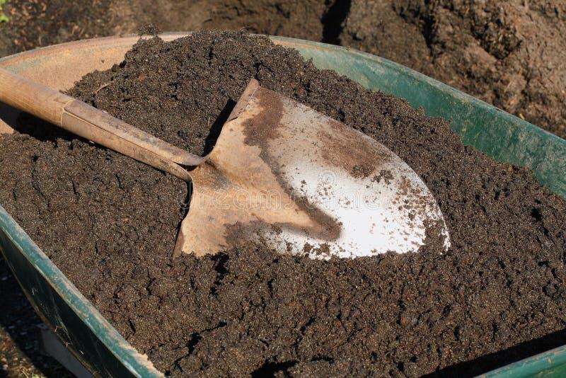Download Shovel In Topsoil On Green Wheelbarrow Stock Photo - Image: 4348412