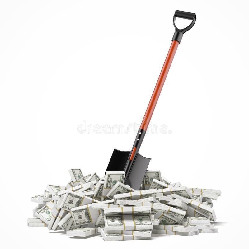 Shovel up dollars. Isolated on a white background. 3d render vector illustration