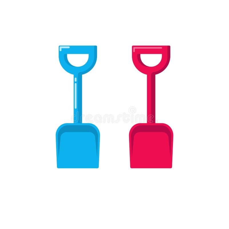 Shovel vector icon, fat cartoon small gardening spade isolated on white royalty free illustration