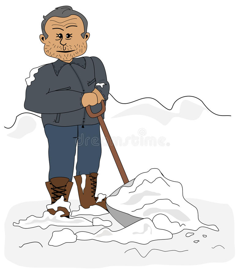 Download Shoveling Snow stock vector. Image of graphic, person - 28015091
