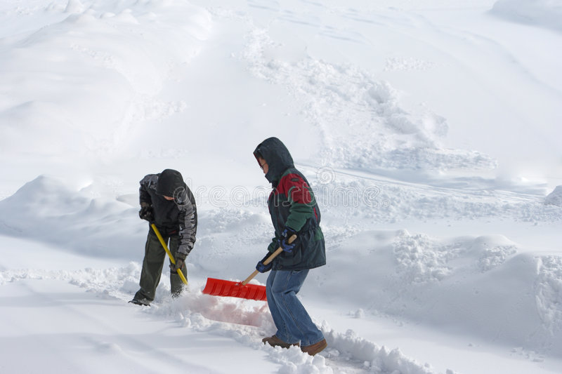Download Shoveling Snow stock image. Image of heavy, boys, team - 4419211