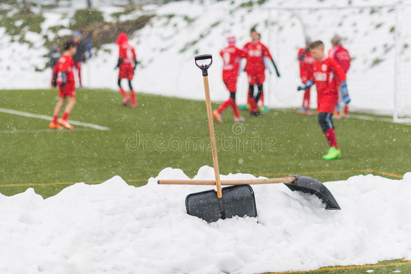 Shovels in the pile of snow after cleaning snow from the soccer. Field - young kids soccer match during snow fall royalty free stock photo