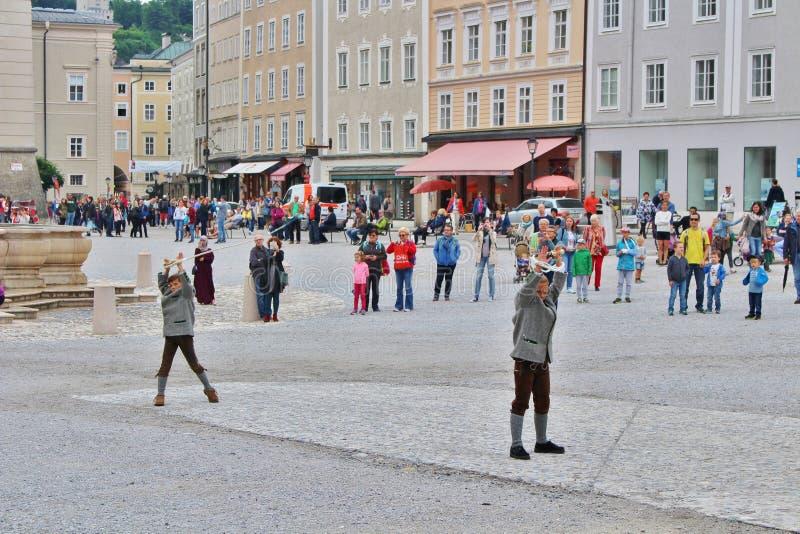 Show of aperschnalzen on Kapitelplatz in Salzburg royalty free stock images
