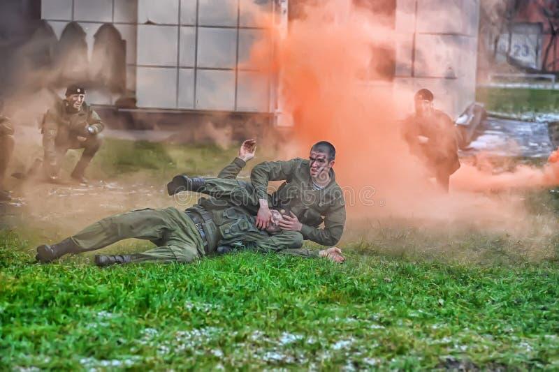 Show av Marine Corps fotografering för bildbyråer