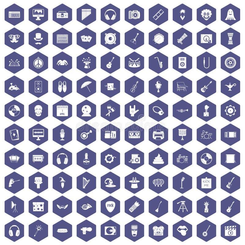 100 show biznes ikon sześciokąta purpur ilustracji